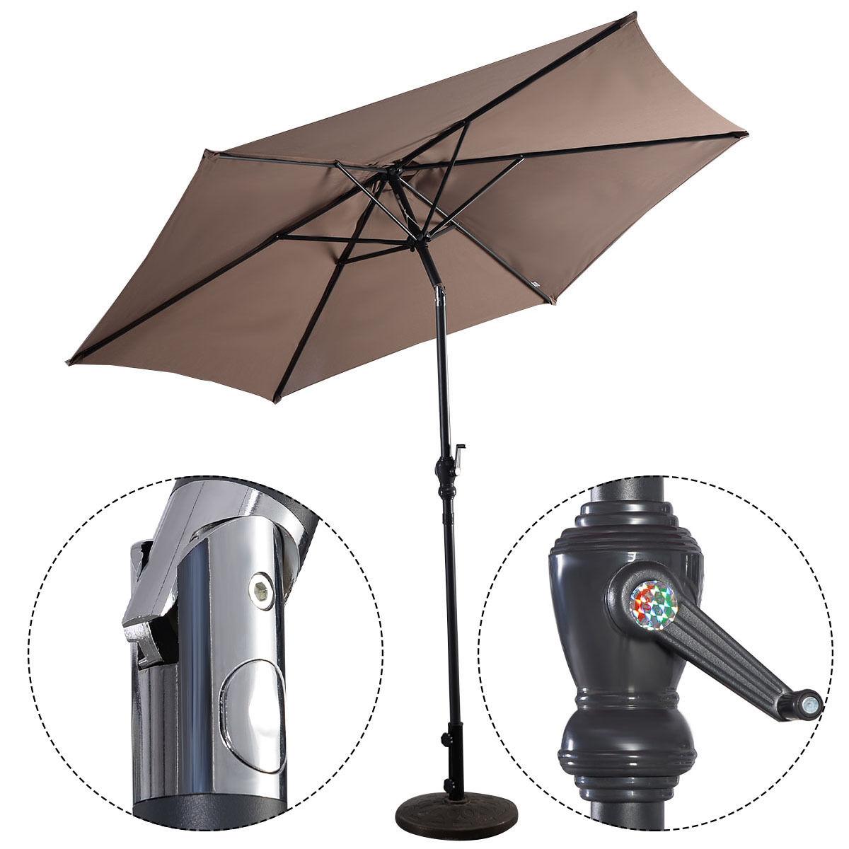 Costway 9ft Patio Umbrella Patio Market Steel Tilt W/ Crank Outdoor Yard  Garden (Tan
