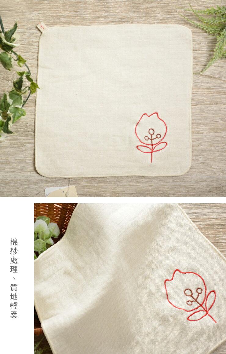 日本今治 - ORUNET - 刺繡手帕(花)《日本設計製造》《全館免運費》,有機棉,有機棉來自3年以上無化學肥料&無農藥之土地,生產階段亦無使用任何藥劑、無漂白、無染色,採用最純淨的有機棉製作最天然安心的產品。