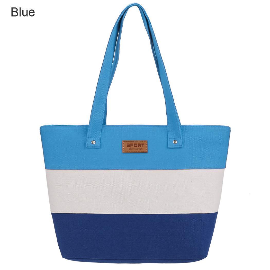 Women Large Capcity CanvasStripe Contrast Color Handbag 0