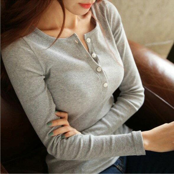 衝  女裝 螺紋長袖女T恤 圓領鈕扣 有型好穿 女上衣 修身顯瘦百搭 打底內搭單穿 簡單舒