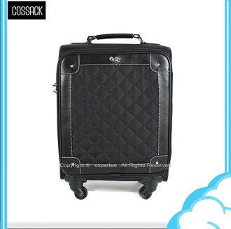 【騷包館】COSSACK 18吋 尊爵菱格系列 日本靜音輪輕巧旅行箱 黑 CE14-1314018-09