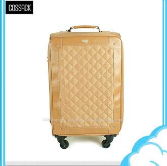 【騷包館】COSSACK 18吋 尊爵菱格系列 日本靜音輪輕巧旅行箱 棕 CE14-1314018-06