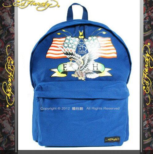 【騷包館】Ed Hardy 美國品牌刺青教父 老鷹圖騰後背包 藍色1A1A4AME-N
