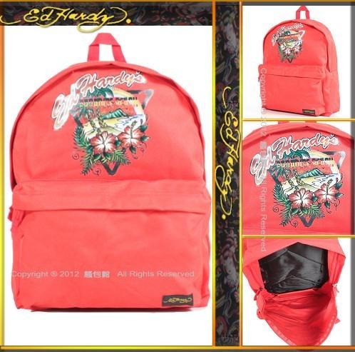 【騷包館】Ed Hardy 美國品牌刺青教父 衝浪天堂後背包 紅色1A1A4PRD-R