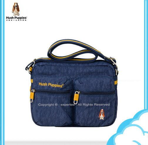 【騷包館】Hush Puppies CHIC 帥勁系列 輕型尼龍雙口袋斜背包 藍色 HP69-3280010-21