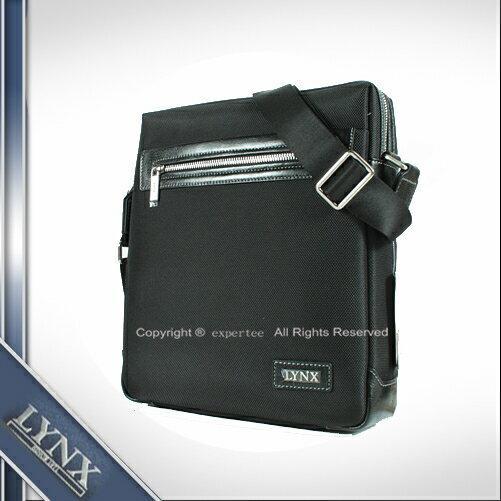 ~騷包館~LYNX美國山貓 牛皮 單拉鏈尼龍直立式斜背包 小 黑 LY29~232~99