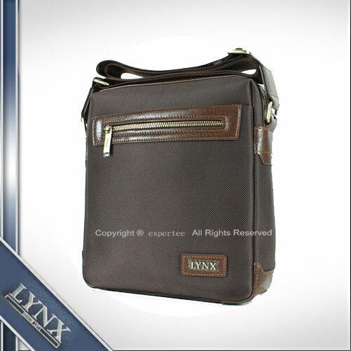 請先 庫存~騷包館~LYNX美國山貓 牛皮 單拉鏈尼龍直立式斜背包 小 咖啡 LY29~2