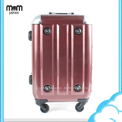 【騷包館】MOM JAPAN 日本品牌 18吋 新改版便利密碼鎖 輕量護角鋁框鏡面海關鎖旅行箱 酒紅方塊 MF3008-18-RD