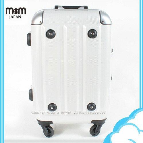 【騷包館】MOM JAPAN 日本品牌 18吋 新改版便利密碼鎖 輕量護角鋁框鏡面海關鎖旅行箱 方塊白 MF3008-18-WT