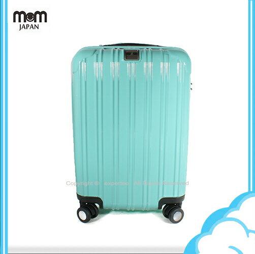 【騷包館】MOM JAPAN 日本品牌 18吋 PC輕量鏡面直線條飛機輪旅行箱 蒂芬妮藍 MF5008-18-SW