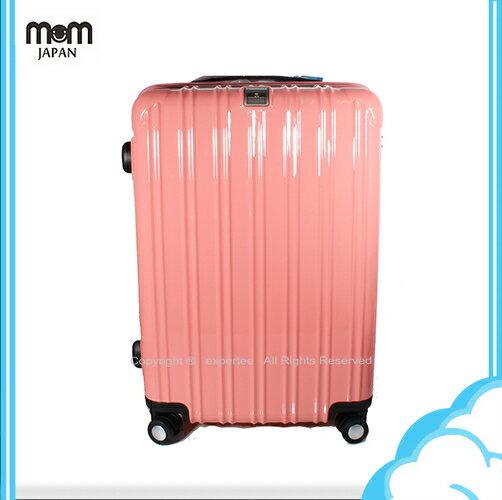 【騷包館】MOM JAPAN 日本品牌 18吋 PC輕量鏡面直線條飛機輪旅行箱 粉紅 MF5008-18-PK