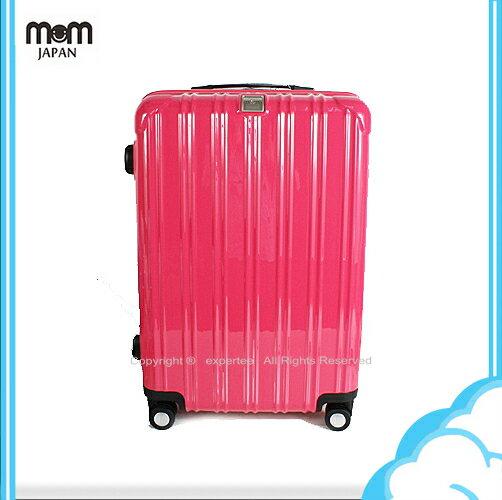 【騷包館】MOM JAPAN 日本品牌 18吋 PC輕量鏡面直線條飛機輪旅行箱 桃紅 MF5008-18-RD