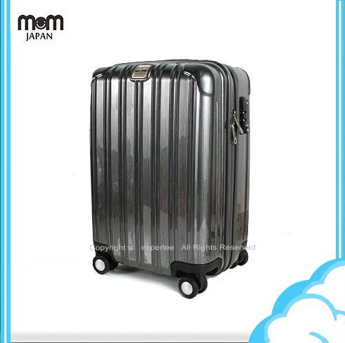 【騷包館】MOM JAPAN 日本品牌 18吋 PC輕量鏡面直線條飛機輪旅行箱 髮絲黑 MF5008-18-BK