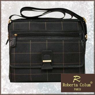 Roberta Colum 法國巴黎品牌 牛皮 咖啡棋盤格線 多造型斜背包
