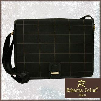 缺貨中 Roberta Colum 法國巴黎品牌 牛皮 咖啡棋盤格線 蓋式斜背包