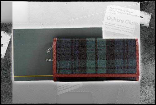 聖大保羅Santa Barbara Polo(美系) 綠格紋長夾041 SB38-04107