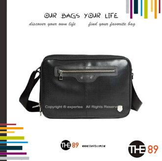 【騷包館】THE89 美國時尚品牌 時尚潮流系列 雙層 面烙圓孔皮革斜背包 大 黑色 THE-951-2305