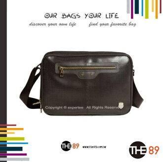 【騷包館】THE89 美國時尚品牌 時尚潮流系列 雙層 面烙圓孔皮革斜背包 大 咖啡 THE-951-2305