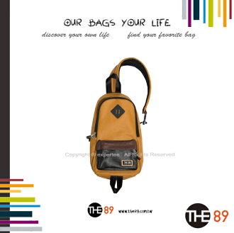 【騷包館】THE89 美國時尚品牌 撞色單邊肩後背包 黃咖黑 THE-942-1702-608