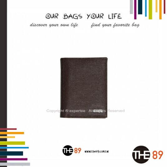 ~騷包館~THE89 美國 品牌 簡約 系列 牛皮十字紋拉鍊零錢袋直立式短夾 咖啡 THE