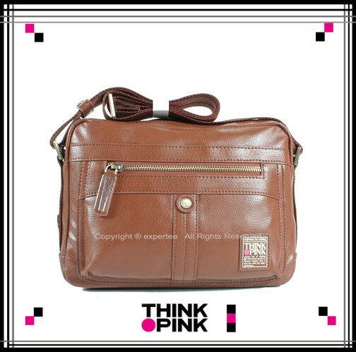 ~騷包館~THINK PINK 潮流品牌 暗黑騎士系列 科技皮感斜背包 棕色 TP~113