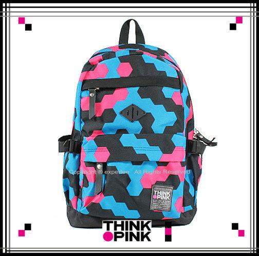 【騷包館】THINK PINK 潮流專櫃品牌 幻彩系列 玩色休閒後背包 六角幾何 TP-113-7601-518