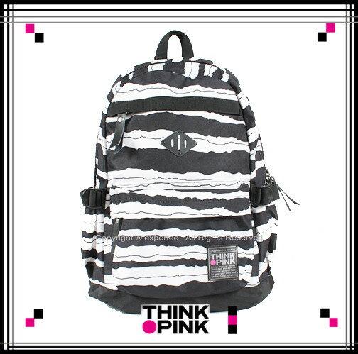 ~騷包館~THINK PINK 潮流專櫃品牌 幻彩系列 玩色休閒後背包 黑白條紋 TP~1