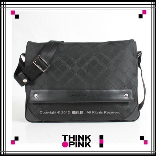 ~騷包館~THINK PINK 潮流專櫃品牌 超凡格紋系列 掀蓋斜背包 黑色 113~73