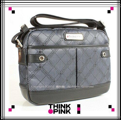 ~騷包館~THINK PINK 潮流專櫃品牌 緹花系列斜背包^(小^)灰色112~7101