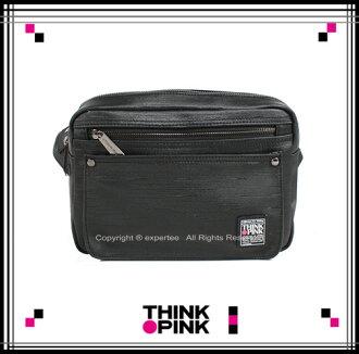 【騷包館】THINK PINK 潮流專櫃品牌 原創覺醒系列 髮絲線條斜背包 黑色 TP-114-2701-097