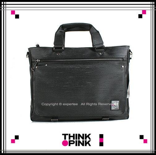 ~騷包館~THINK PINK 潮流專櫃品牌 原創覺醒系列 髮絲線條手提兩用公事包 黑色