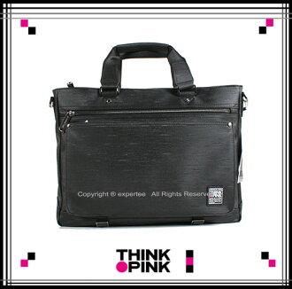 【騷包館】THINK PINK 潮流專櫃品牌 原創覺醒系列 髮絲線條手提兩用公事包 黑色 TP-114-2705-096