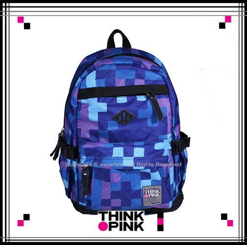 【騷包館】THINK PINK 潮流專櫃品牌 幻彩系列 玩色休閒後背包 方格紫 TP-113-7601-708