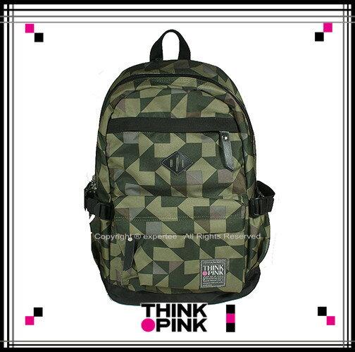 【騷包館】THINK PINK 潮流專櫃品牌 幻彩系列 玩色休閒後背包 迷彩綠 TP-113-7601-408