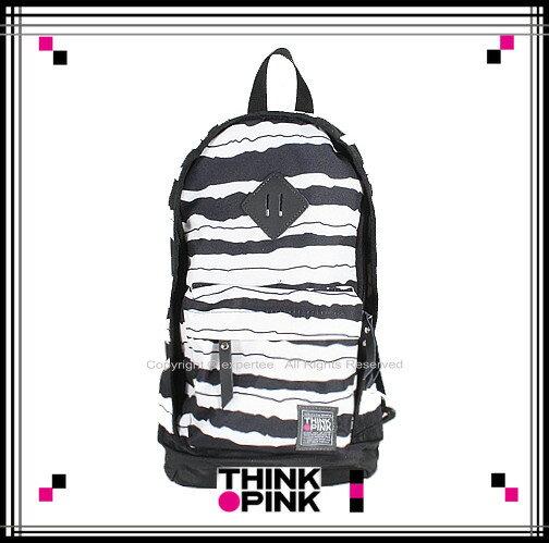 5折優惠!【騷包館】THINK PINK 潮流專櫃品牌 幻彩系列 新改版單雙肩背包 黑白條紋 TP-115-7602-018