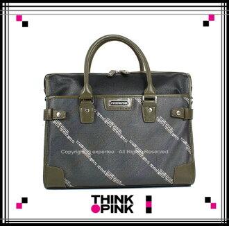 【騷包館】THINK PINK 潮流品牌 紳士品格系列 縱橫紋路兩用公事包 軍綠 TP-113-8302-407