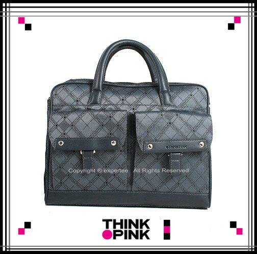 ~騷包館~THINK PINK 潮流專櫃品牌 超凡格紋系列 手提兩用公事包 藍灰色 TP~