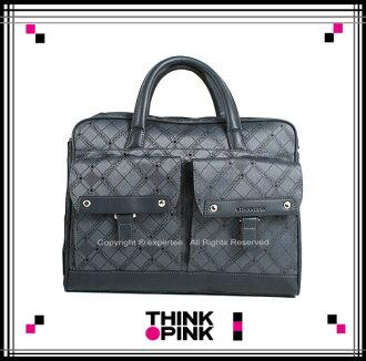 【騷包館】THINK PINK 潮流專櫃品牌 超凡格紋系列 手提兩用公事包 藍灰色 TP-113-7305-067