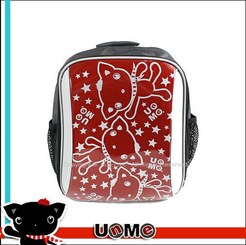 【騷包館】UnMe 日系品牌 台灣製造 輕型 人體工學 3M亮面反光條滿版貓咪書包 紅色 3225-RD