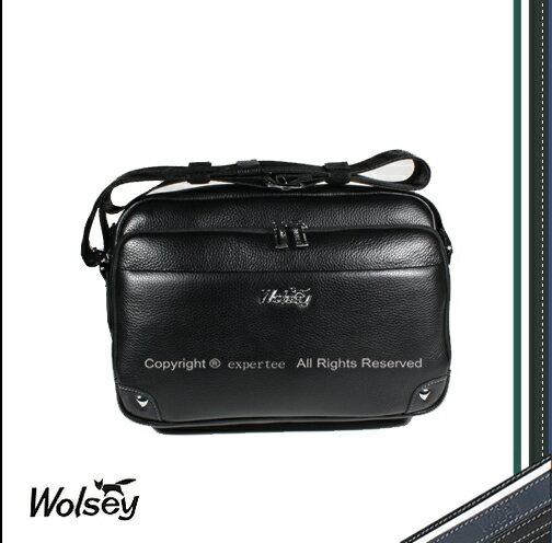 ~騷包館~~Wolsey 皇家金狐狸~牛皮 真皮母子斜背包 黑色 WS~510605
