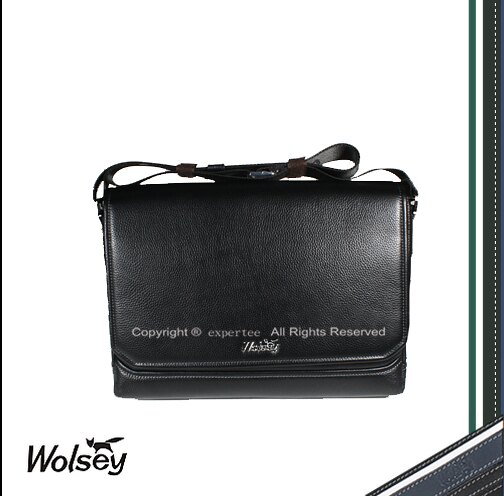 ~騷包館~~Wolsey 皇家金狐狸~牛皮 橫式掀蓋斜背包 黑色 WS~510602