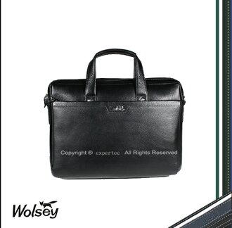 【騷包館】【Wolsey 皇家金狐狸】牛皮 專業手提2用公事包==黑色 WS-510601