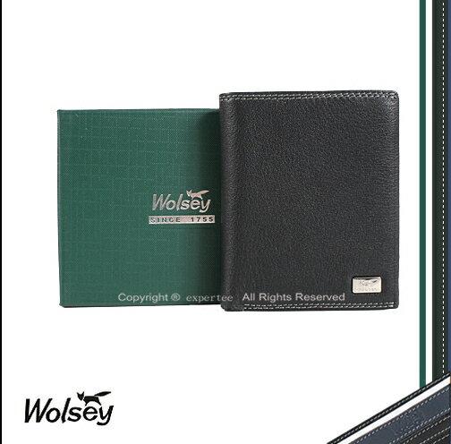 ~騷包館~~Wolsey 皇家金狐狸~牛皮 方型logo 直立短夾 黑色 WS~53020