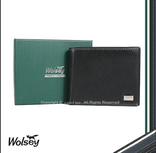 ~騷包館~~Wolsey 皇家金狐狸~牛皮 方型logo 內裡多卡短夾 黑色 WS~530