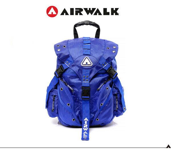 【騷包館】【AIRWALK】美式潮流 繽紛三叉扣後背包(小) 寶藍A431322882(預購)