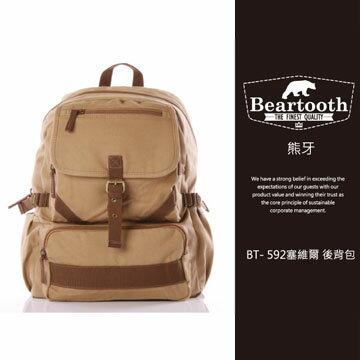 預訂【騷包館】【Beartooth】熊牙 大地風格 天然棉質帆布 牛皮縫製 塞維爾 後背包 卡其色 BT- 592