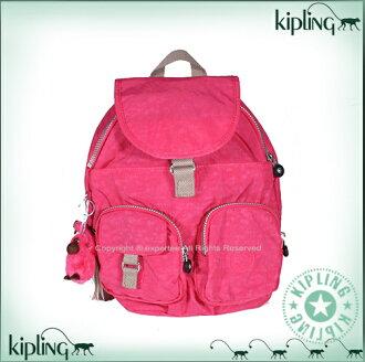 【騷包館】【Kipling】BASIC系列 比利時品牌 雙口袋造型輕型後背包 大 草莓棉花糖 K-374-3116-120