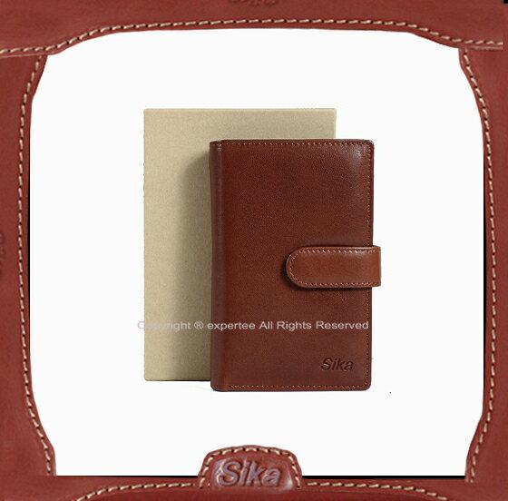 【騷包館】Sika 義大利牛皮 直立筆記本式三折內拉鏈零錢中夾 深咖啡 A8283-02