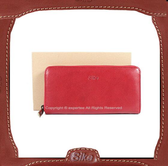 【騷包館】Sika 牛皮 拉鏈袋多卡長夾 紅 SK-A8236-04