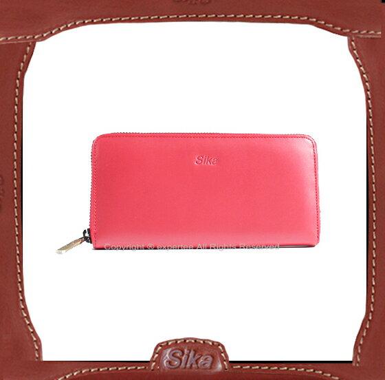 【騷包館】Sika 水蠟牛皮 平滑質感 拉鏈袋多卡長夾 紅 H8236-04
